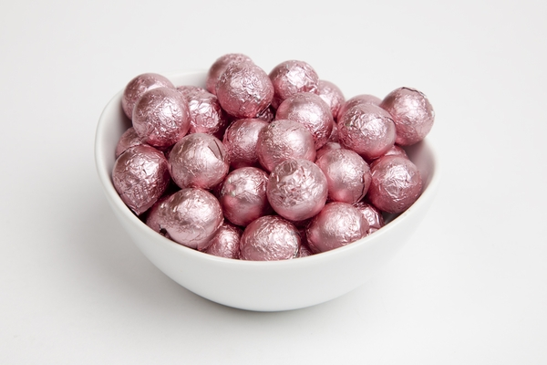 Light Pink Foiled Milk Chocolate Balls (10 Pound Case)