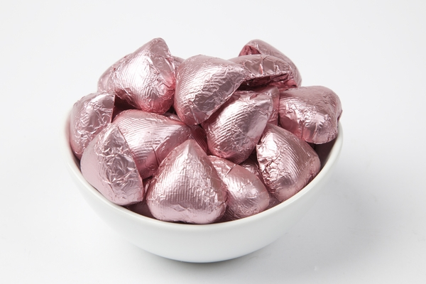 Light Pink Foiled Milk Chocolate Hearts (5 Pound Bag)