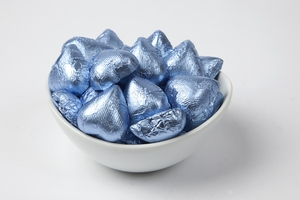 Pastel Blue Foiled Milk Chocolate Hearts (5 Pound Bag)