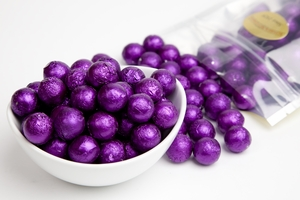 Purple Foiled Milk Chocolate Balls (1 Pound Bag)