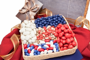 Red, White and Blue Deluxe Nut Gift Basket (2 Pound Basket)