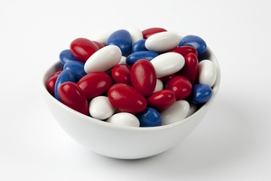 Red, White and Blue Jordan Almonds (10 Pound Case)
