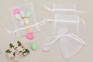 White Sheer Organza Party favor Bags (Pack of 10)