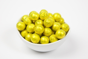 Yellow Foiled Milk Chocolate Balls (10 Pound Case)