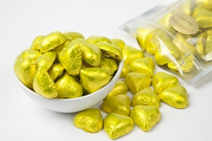 Yellow Foiled Milk Chocolate Hearts (1 Pound Bag)