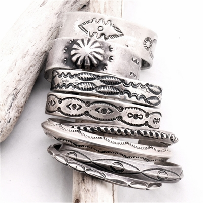 Authentic Native American Stamped Silver Bracelets