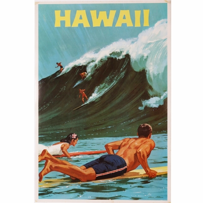 Rare Original Hawaii Surf Travel Poster by Chas Allen 1960's