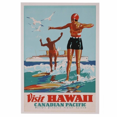 Rarest Hawaii Surf Travel Poster, Canadian Pacific, 1930s