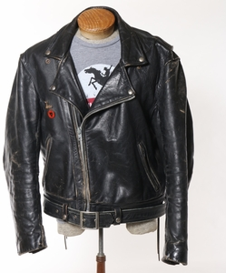 Vanson Vintage Leather Motorcycle Jacket with Harley Davidson Emblem 1950's