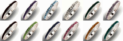 Birthstone Eternity Band Ring $10.00 Ea. (Dealer 3Key)