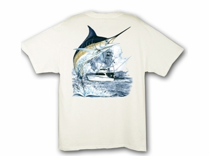 Aftco Guy Harvey Marlin Boat Mens Tee Shirts