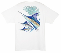 Aftco Guy Harvey MTH6281 Striped Marlin Men's SS Tee - White