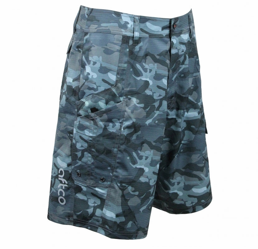 AFTCO M82 Tactical Fishing Shorts - Blue Camo | TackleDirect