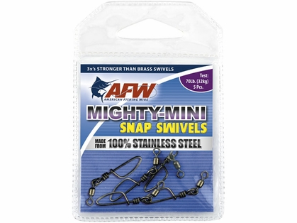 AFW FTSS320B/50 320Lb. 50pk Stainless Steel Snap Swivels Black