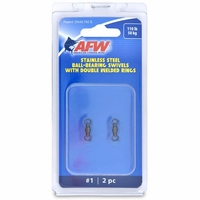 AFW FWV01B-A Size #1 110lb Stainless Steel Ball Bearing Swivels, 2pc