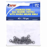 AFW FWV03B/10 Size #3 200lb Stainless Steel Ball Bearing Swivels, 10pc