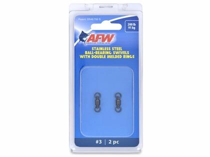 AFW FWV03B-A Size #3 200lb Stainless Steel Ball Bearing Swivels, 2pc