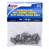 AFW FWV06B/10 Size #6 445lb Stainless Steel Ball Bearing Swivels, 10pc