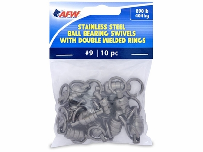 AFW FWV09B/10 Size #9 890lb Stainless Steel Ball Bearing Swivels, 10pc