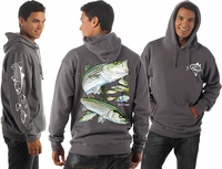 David Dunleavy DD4000PO-8023 Striped Bass Pullover Hoodie Charcoal