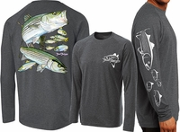 David Dunleavy DLW8023 Striped Bass Long Sleeve Tee Charcoal