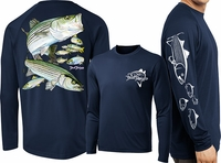David Dunleavy DMW8023 Striped Bass Long Sleeve Tee Navy Large
