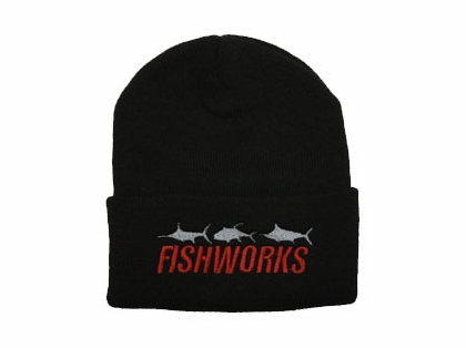 Fishworks Beanie 3 Fish Impact Logo Black BN10