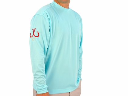 Montauk Tackle Crew Neck MTCdryprotect Shirt Fishers Island Aqua