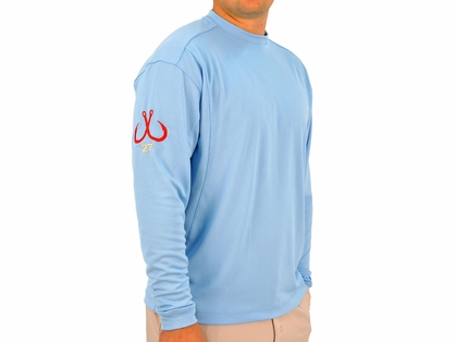 Montauk Tackle Crew Neck MTCdryprotect Shirt Hamptons Sky Blue