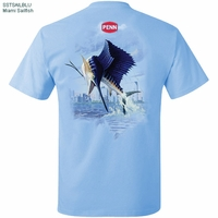 Penn SSTSAILBLU Miami Sailfish 100% Cotton Tee Shirt Blue