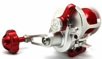 Release Large Game Conventional Lever Drag Reel Silver/Red