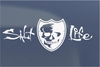 Salt Life Signature Skull and Shield Decal - White