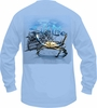 Salt Life SLM0184 Crab Claws LS T-Shirt - Sky Blue