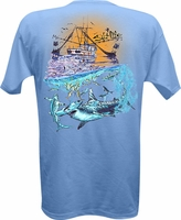 Salt Life SLM060 Men's Shark Frenzy SS Pocket Tee - Sky Blue
