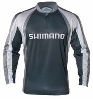 Shimano Technical Long Sleeve Sublimated Zip Tee Gray