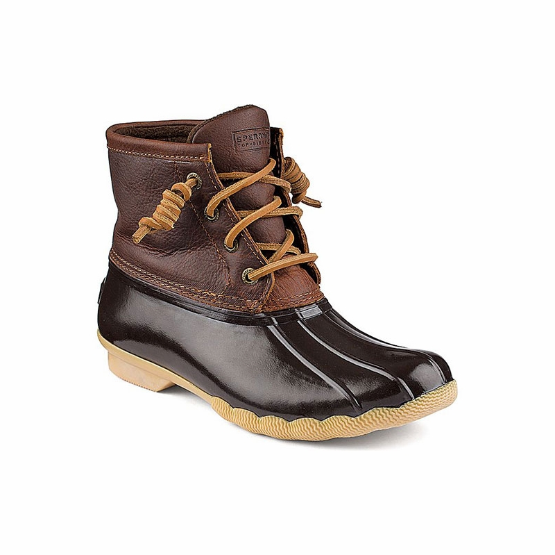 Simple Duckinspired Classics With A Modern Twist Premium Leather Collars And Warm Microfleece Linings Hightraction Rubber Lugged Outsoles Sperrys Womens Saltwater Misty Boots Take Classic Rain Boots And Add A Warm, Modern Twist