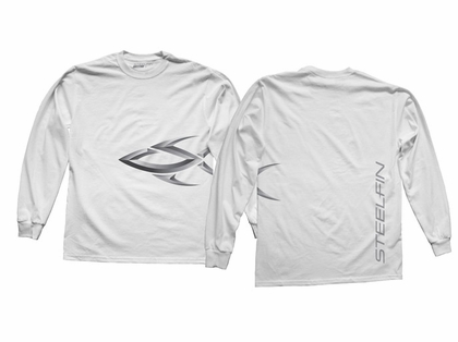 Steelfin Long Sleeve Logo Shirt White