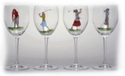 Handpainted Golf Glasses:Set of 4 Goblets