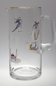 Handpainted Skier glass Pitcher 44 oz.