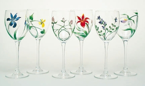 Handpainted wine glass Vermont Wildflowers:  Set of 6