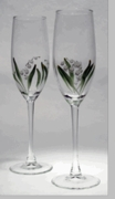 Lily of the Valley ~ Hand Painted 6 oz. Flutes set of 6