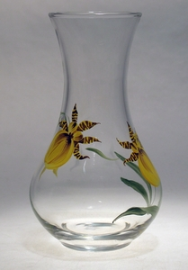 Orchid ~ Yellow Bud Vase 6.75'
