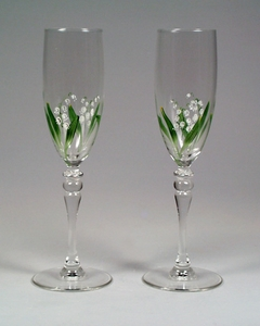 Pair of Lily of the Valley Champagne Flutes