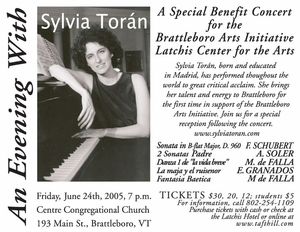 Sylvia Toran Paino Concert- Latchis Benefit