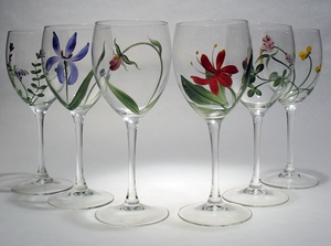 Vermont Botanicals Design ~ Hand-painted Wine Glasses