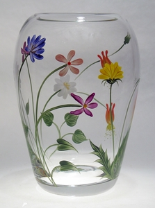"Wildflowers ~ Hand-painted 8"" Medium Ming Vase"