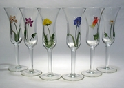 Wildflowers ~ Hand-painted Cordial Glasses Set of 6
