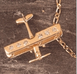 14K Gold Diamond Airplane Pendant Jewelry | UPGRADE ME