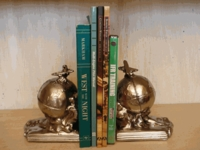 Airplane Bookends - Antique Silver Finish/Set of Two