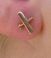 14K Gold High Wing Post Airplane Earrings